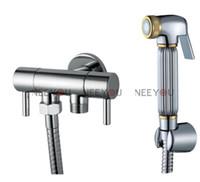 Single Hole 1 Chrome Free Shipping Chrome and Gold Toilet Flusher Brass Bidet Sprayer Faucet Set Enhanced pressure Shower + G1 2 Tap + Shower hose + Wall Bracket
