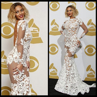 beyonce style fashion - New Arrival Beyonce Lace Celebrity Dresses Mermaid Open Back Long Sleeve See Through White Styles