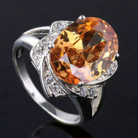 With Side Stones Women's Party New 2014 Womens Oval 10X12 Brown Citrine Pure 925 Sterling Silver Ring size 6 7 8 9 R024
