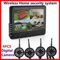 """4Channel   Wireless 4CH Quad Home security system 4 digital Cameras with 7"""" TFT LCD DVR Free DHL"""