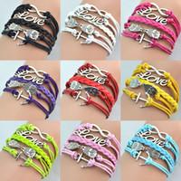 Wholesale Infinity Bracelets Antique Charm Love Owl Anchor Infinity Braided Mix Colors Leather Bracelets Fashion Wrist bands Jewellery