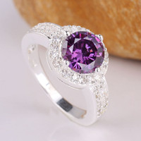 tanzanite rings - Dazzling Women Round Purple Tanzanite Authentic Sterling Silver Ring size R033