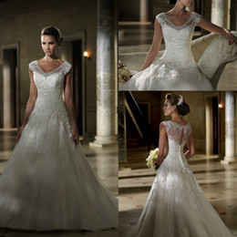 Wholesale Beautiful Cap Sleeve Wedding Dresses with Illusion V Neck See Through Lace Corset Bridal Gowns Women