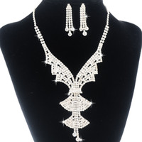 Wedding Jewelry Sets Celtic Gift EMS Free Shipping Shining Rhinestones Pendant Necklace & Earring Set For Bridal Dresses Accessory