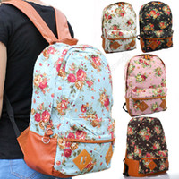 Wholesale Vintage New Women Girl Cute Canvas Bag Floral Flower Backpack Bookbag Schoolbag Bx80