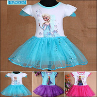 TuTu Summer Ball Gown Frozen Anna Elsa Girls Dress 3 Designs 5 Sizes 3-8Y Baby Children Dresses Little Girl pattern bowknot dot strap girl dress