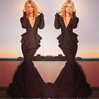 Reference Images V-Neck Stretch Satin Free Shipping Michael Costello Mother of the Bride Dresses 2014 New Brown Long Sleeve Deep V Neck Peplum Mermaid Evening Dresses
