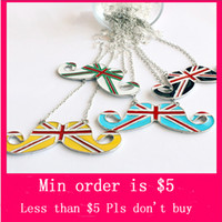 Wholesale Min Order Mix Jewelry order New Unisex Hip Fashion Necklace Chain Mustache London Uk British Flag Pendants E4085