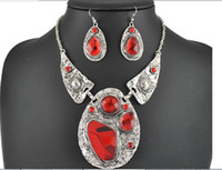 antique cubic zirconia wedding sets - New Brand Vintage Jewelry Sets Antique Silver Plated Red Glass Crystal Necklace Earring Set