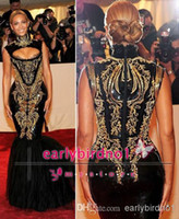 Wholesale Luxurious Beyonce MET Gala Black And Gold Embroidery Beaded Mermaid Celebrity Dresses High Collar Sweep Train Tulles Evening Prom Gowns