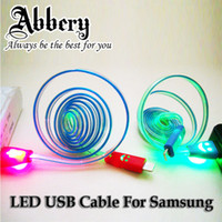 Wholesale 1000pcs Lighting Flash Bling LED Micro USB Cable M ft LED Smiley Face RGB USB Cable For SamsungS3 S4 HTC Lenovo XiaoMi HUAWEI ZOPO
