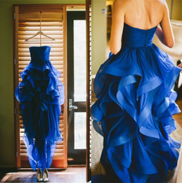 2019 Elegant Royal Blue Organza Beach Wedding Dresses Bridal Gown A-Line Strapless Tiers Pleated Cascading Ruffles Hi-Lo Short Wedding Gown