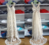 Wholesale Real Pictures Light Champagne Pearls Beach Wedding Dresses Beading Lace Backless Bow Anna Campbell Garden Bridal Party Prom Gowns Cheap