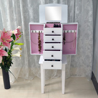 Wholesale Jewelry Armoire Wooden Storage Cabinet Bedroom Setting Living Room Furniture In White USA Warehouse