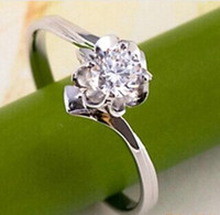 Wholesale Supplying genuine star flowers models RB0445 points innovative classic Swiss Diamond Silver Ring