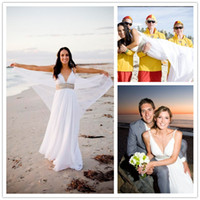 Reference Images drop waist - Flowy and Lightweight Chiffon Beach Wedding Dresses Spaghetti Straps V Neck Beaded Waist Summer Bridal Dresses Casual Bridal Gowns