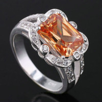 With Side Stones Women's Gift New Lady 3.2 ct Brown Citrine Real 925 Sterling Silver Ring R001
