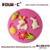 Wholesale rabbit silicone sugarcraft mould Silicone embossing gum paste mold newest easter cupcake decorating mold