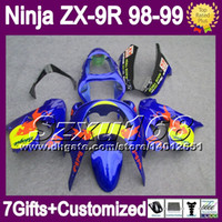 Wholesale 7gifts Body For KAWASAKI ZX9R NINJA ZX R Blue Red ZX R SZ16159 ZX9 R NEW Blue yellow Fairing Kit