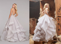 Wholesale 2014 Ball Gown Wedding Dresses Halter High Neck Beaded Crystal Bodice Full Horse Hair Flounced Skirt Sweep Train Bridal Gowns
