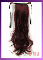 Wholesale 22 quot cm g body wave ribbon ponytail hairpiece hair pieces clip in hair extensions color Light Burgundy