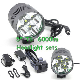 Wholesale 5 CREE XM L T6 T6 Lumens In LED Modes Bike Light Bicycle Front Lamp Headlight Night Headlamp V Battery Pack