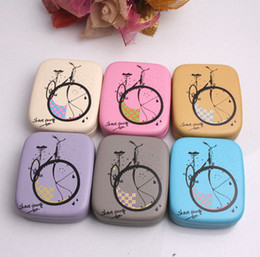 Wholesale 2014 new Retro British Style Bike pattern leather Contact Lens Case for Glasses Travel Kit Set With Small Mirror