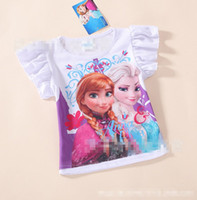 Wholesale Pre Sale Will In Stock On June st Summer New Children Girls Tshirt Frozen Elsa Anna Cartoon Round Collar Kids Clothing Childs Tees G0498