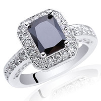 Women's black onyx rings - New Lady Pure S925 Sterling Silver Ring Black Onyx Oblong X8 R005