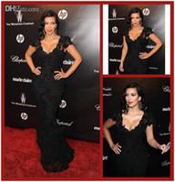 Cheap Kim Kardashian Black Lace Celebrity Dresses Mermaid Deep V Neck Cap Sleeves Lace Evening Dresses Red Carpet Gowns Women Plus Size Dresses