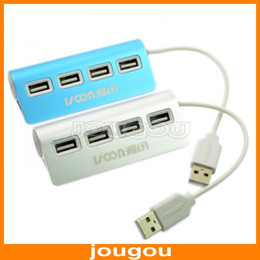 Wholesale High Speed Mbps Mini Port Aluminum USB Hub Adapt For Laptop PC Notebook I White Blue Free DHL Shipping