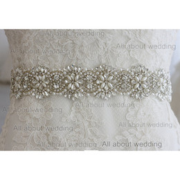 Wholesale Glass Rhinestone Crystal Bridal Belt New Style Pearl Wedding Dress Sash Accessory Prom Evening Dress Tie Back