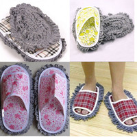 Wholesale 6Pairs Grid Dusting Mop Slippers Shoes Floor Cleaner Velcro Removable Clean Easy FG08009