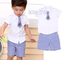Boy Summer Short Summer New 2014 Boys clothing set children's solid t shirt + shorts sets baby clothing set kids casual sets retail