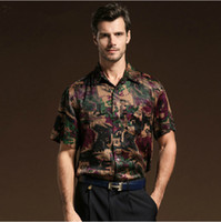 Casual Men Silk 2014 Summer Silk Shirt Short sleeve Black purple Casual Men's Clothing Plus Size Free Shipping