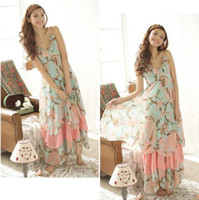 Casual Dresses V_Neck A Line 2014 New Summer Women Floral V-Neck Beach Boho Maxi Sundress Long Irreguler Dress