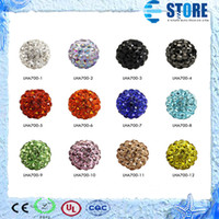 Wholesale 10MM Multicolor New Resin Rhinestone Beads Silver Plated Core Crystal Loose Beads Fit Braceles M