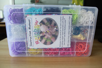 Unisex 12-14 Years Multicolor Rainbow loom Kits Clear plastic box for Kids DIY bracelets with 3000 Pcs rubber bands + 50 clips + 1 hooks MOQ 25 box DHL freeshipping