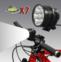 Wholesale 7x Cree XML T6 Led Bicycle light Headlight Bike front light LM mah battery Night headlamps sets With Retail Box