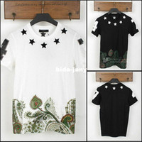Men Cotton Polo Wholesale-2014 brand men's t-shirt short sleeve fashion shirt Round neck embroidery star neck with tag ,label silk Casual tee