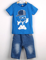 Wholesale Boys Summer children s clothing children suit new cartoon knitting printing set