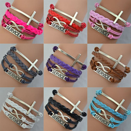 Wholesale High Quality Bangles Fashion Hand Weave Leather Bracelet Color Bracelet Service Cross Charming Style Women Bracelet