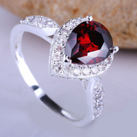 Wholesale Royal Womens Pure Sterling Silver Ring Red Garnet Pear size R079