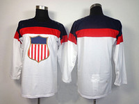 Ice Hockey Men Full 2014 Olympic USA United States Blank Ice Hockey Jerseys Sportswear White Color SZ:48-56 able mix any size