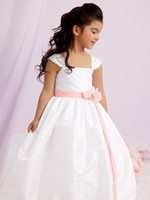 Girl Sash Taffeta White and light pink pleated cap sleeves party girl dresses floor length taffeta with satin band bow and flower accents flower girl dress