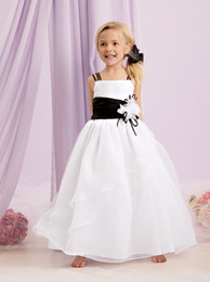 Wholesale Triple spaghetti straps tiered organza white and black flower girl dresses square neckline draped waistband flowers bows accents girl wear