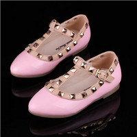 Wholesale Fashion Kids Shoes Princess Leather Shoes Wedding Flower Girl Shoes Rivet Girls Party Shoes Flat With Baby Dance Shoes