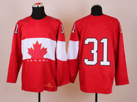 Ice Hockey Men Full 2014 Winter Olympic Ice Hockey Jerseys Mens #31 Price Sportswear Red Color SZ:48-56 able mix any size