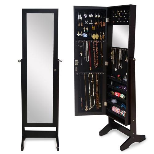 Wood jewelry armoire jewelry cabinet with full length for Mirror jewelry cabinet