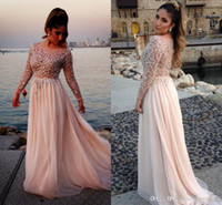 Model Pictures Crew Chiffon 2014 2015 Elie Saab Sexy Lace Sheer Long Sleeves Chiffon Beach Formal Evening Dresses Sequins Beaded Backless Prom Pageant Gowns BO2258